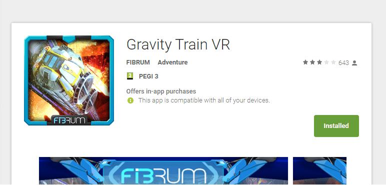 אפליקציית (VR) מציאות מדומה gravity train vr